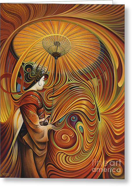 Curvismo Greeting Cards - Dynamic Oriental Greeting Card by Ricardo Chavez-Mendez