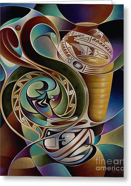 Multi Colored Paintings Greeting Cards - Dynamic Still I Greeting Card by Ricardo Chavez-Mendez