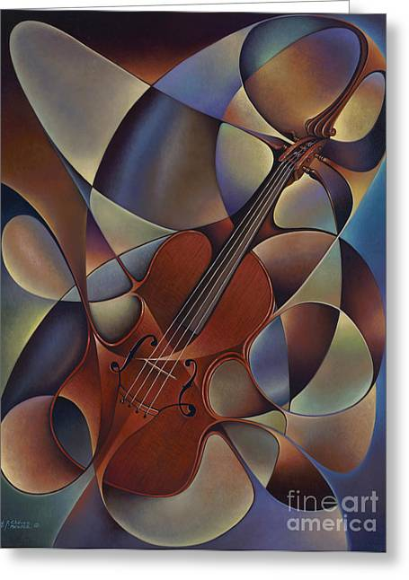 Curvismo Greeting Cards - Dynamic Violin Greeting Card by Ricardo Chavez-Mendez
