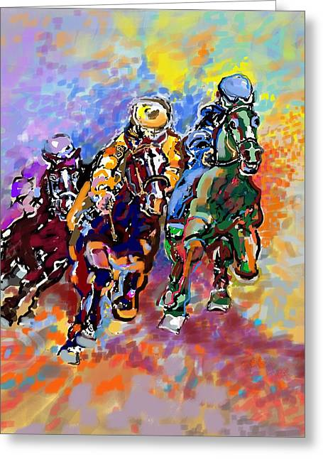 Race Horse Greeting Cards - Dynamic winner Greeting Card by Mary Armstrong
