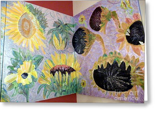 Decorative Reliefs Greeting Cards - Dyptich Corner Sunflower Greeting Card by Vicky Tarcau