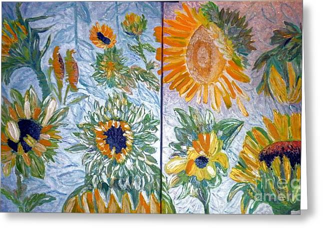 Modern Reliefs Greeting Cards - Dyptich Sunflower Greeting Card by Vicky Tarcau