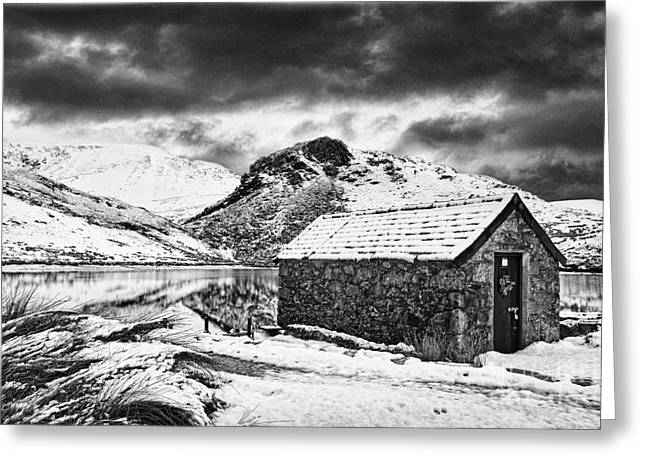 Welsh Reservoirs Greeting Cards - Dywarchen Dawn BW Greeting Card by Graeme Pettit