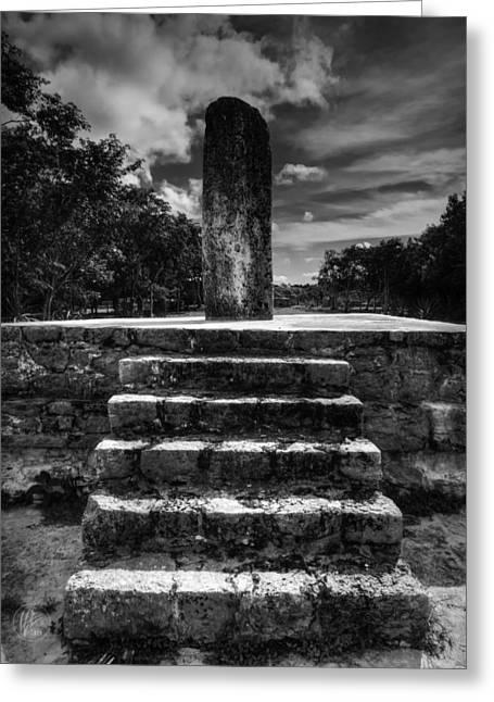 Stone Steps Greeting Cards - Dzibilchaltun Monolith 001 BW Greeting Card by Lance Vaughn