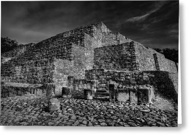 Stone Steps Greeting Cards - Dzibilchaltun Pyramid 001 BW Greeting Card by Lance Vaughn