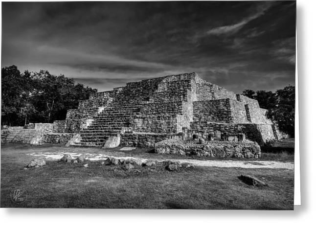Stone Steps Greeting Cards - Dzibilchaltun Pyramid 002 BW Greeting Card by Lance Vaughn