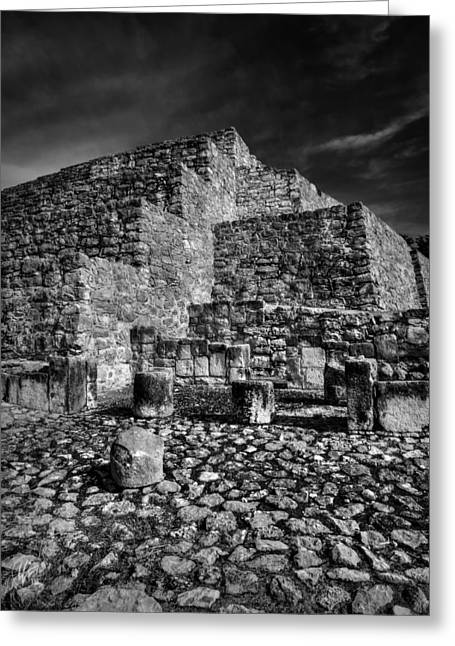 Stone Steps Greeting Cards - Dzibilchaltun Pyramid 003 BW Greeting Card by Lance Vaughn