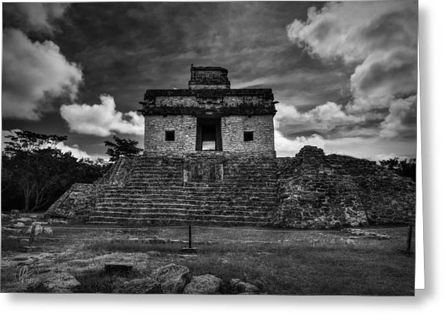 Stone Steps Greeting Cards - Dzibilchaltun - Temple of the Seven Dolls 001 BW Greeting Card by Lance Vaughn