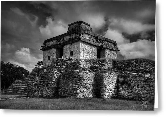 Stone Steps Greeting Cards - Dzibilchaltun - Temple of the Seven Dolls 002 BW Greeting Card by Lance Vaughn