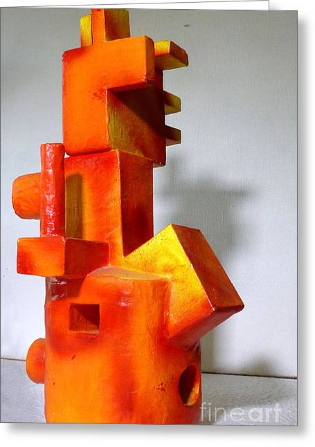 Red Abstract Sculptures Greeting Cards - Dziga Greeting Card by Maria Rosa