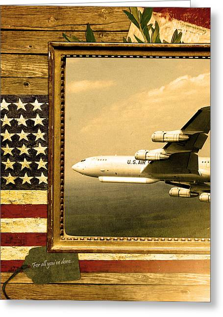 Jet Star Greeting Cards - E-8 Joint Stars Rustic Flag Greeting Card by Reggie Saunders