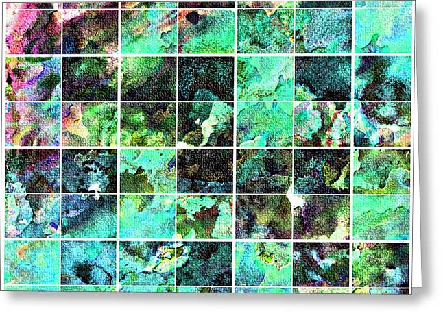Abstract Digital Tapestries - Textiles Greeting Cards - Tiled Watercolor Blocks with Texture 6 Greeting Card by Barbara Griffin