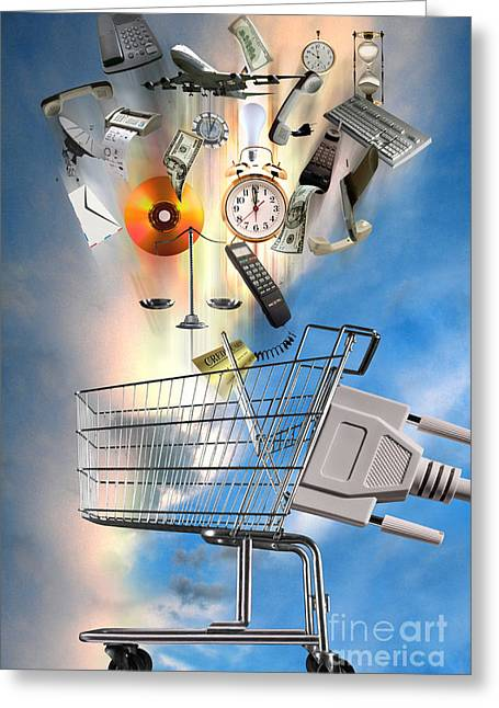Shopping Cart Greeting Cards - E-commerce Greeting Card by Mike Agliolo