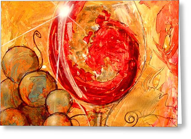 Grapevine Red Leaf Digital Greeting Cards - E Dio Disse Greeting Card by Marcello Cicchini