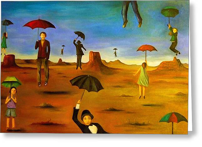 Valley Girl Greeting Cards - Spirit Of The Flying Umbrellas edit 4 Greeting Card by Leah Saulnier The Painting Maniac