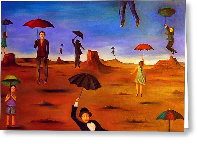 Tuxedo Greeting Cards - Spirit Of The Flying Umbrellas edit 5 Greeting Card by Leah Saulnier The Painting Maniac