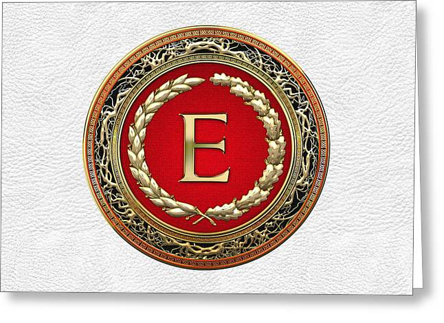 Cadeau Greeting Cards - E - Gold Vintage Monogram on White Leather Greeting Card by Serge Averbukh