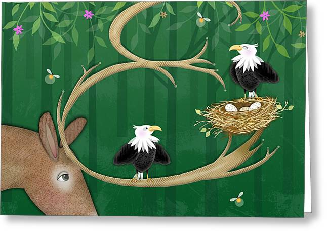 Valerie Lesiak Greeting Cards - E is for Elk and Eagles Greeting Card by Valerie   Drake Lesiak