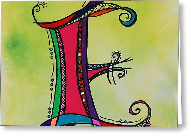 'E' Monogram Greeting Card by Joyce Auteri