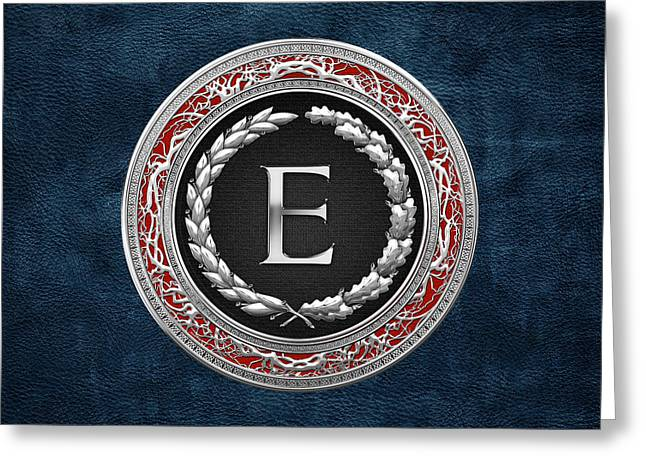Cadeau Greeting Cards - E - Silver Vintage Monogram on Blue Leather Greeting Card by Serge Averbukh