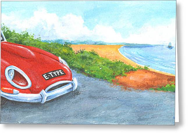Driving Greeting Cards - E-Type Greeting Card by Peter Adderley