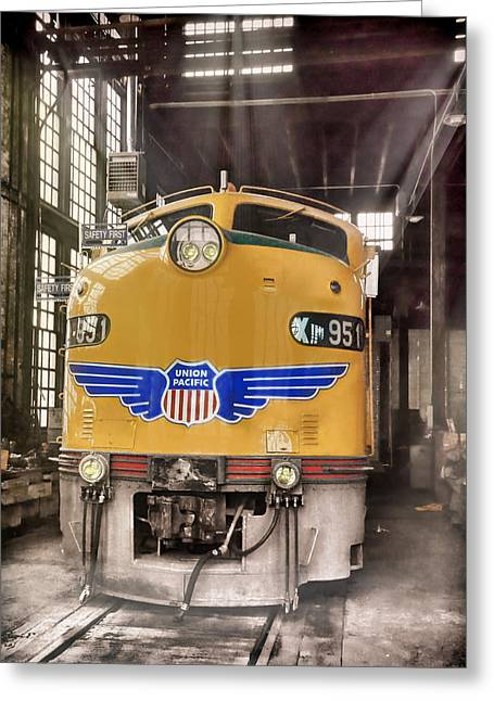 Diesel Locomotives Greeting Cards - E9 951 in the Roundhouse in Cheyenne Greeting Card by Ken Smith