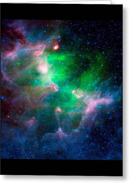 Hubble Space Telescope Mixed Media Greeting Cards - Eagla Nebula Infrared View Medium Black Border Greeting Card by L Brown
