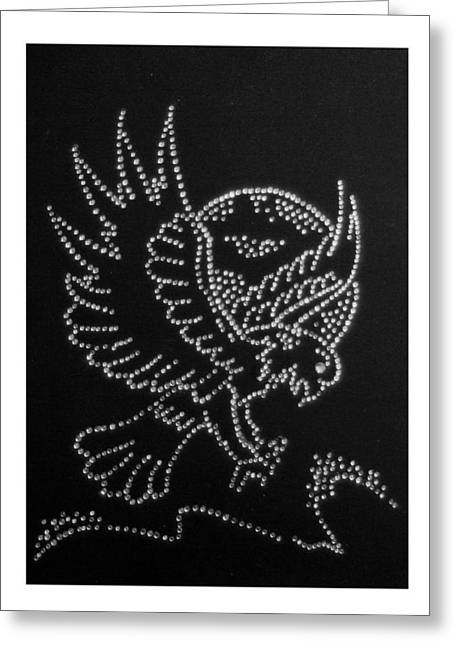 Birds Glass Art Greeting Cards - Eagle Greeting Card by Adrian Muka