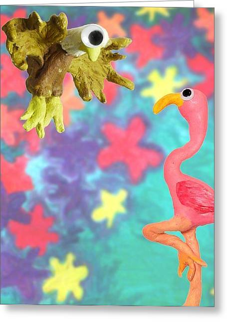 Cherie Sexsmith Greeting Cards - Eagle and Flamingo Greeting Card by Cherie Sexsmith