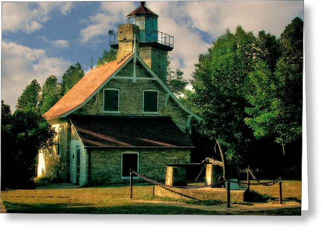 Historical Buildings Digital Art Greeting Cards - Eagle Bluff Light 2.0 Greeting Card by Michelle Calkins