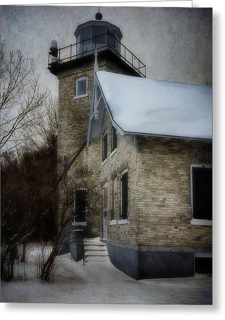 Eagle Bluff Lighthouse Greeting Cards - Eagle Bluff Light Greeting Card by Joan Carroll