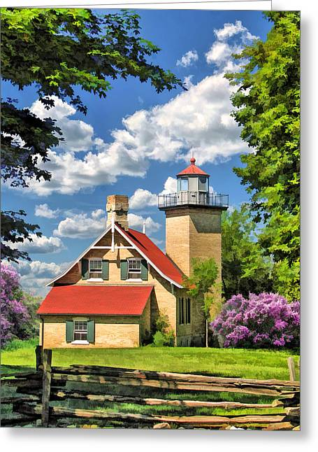 Split Rail Fence Paintings Greeting Cards - Eagle Bluff Lighthouse Greeting Card by Christopher Arndt