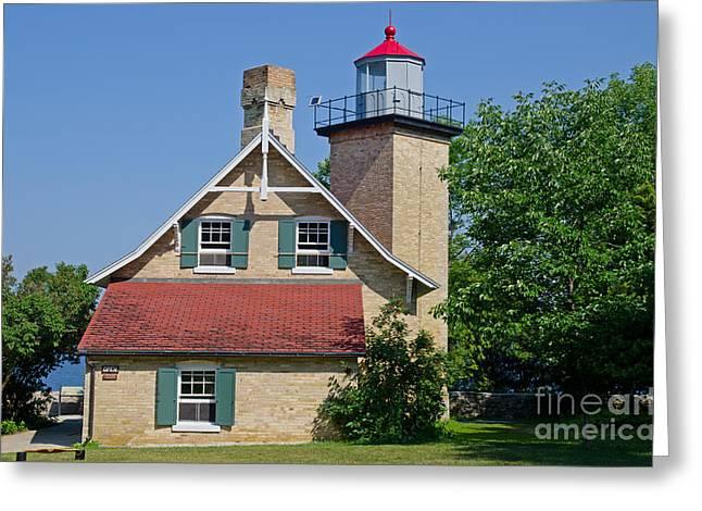 Eagle Bluff Lighthouse Greeting Cards - Eagle Bluff Lighthouse Greeting Card by Ralf Broskvar
