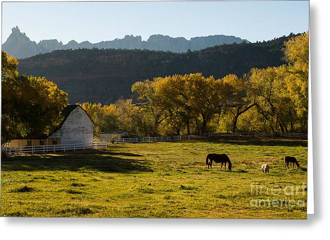 Geobob Greeting Cards - Eagle Crags above Two Feathers Ranch Rockville Utah Greeting Card by Robert Ford