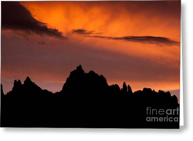 Geobob Greeting Cards - Eagle Crags Sunset and Silhouette near Springdale Utah Greeting Card by Robert Ford