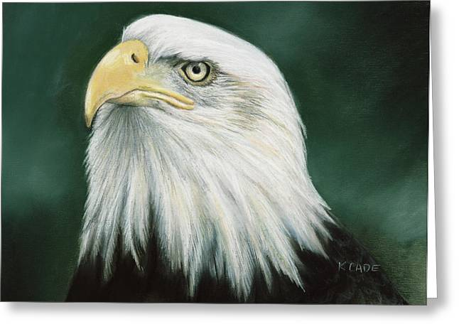 Eagles Pastels Greeting Cards - Eagle Eye Greeting Card by Karen Cade