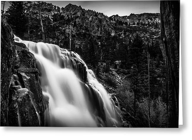 Eagle Creek Greeting Cards - Eagle Falls Black and White Greeting Card by Scott McGuire