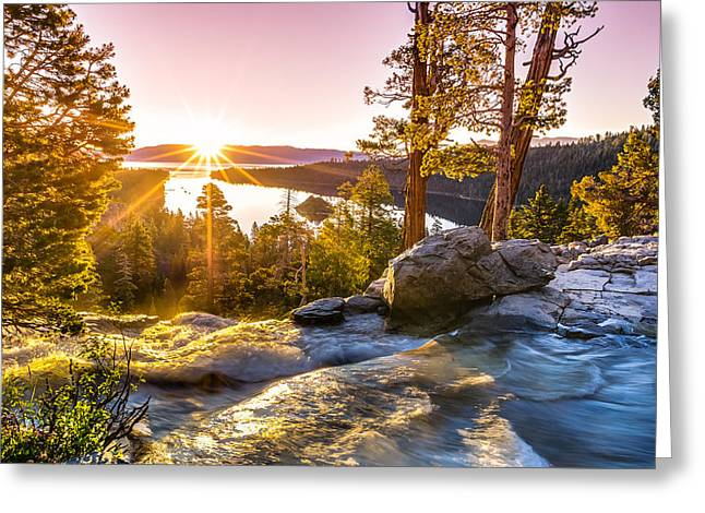Background Greeting Cards - Eagle Falls Emerald Bay Lake Tahoe Sunrise First Light Greeting Card by Scott McGuire
