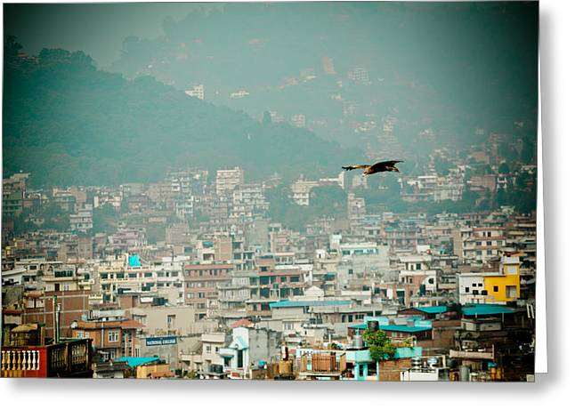 Tibetan Buddhism Greeting Cards - Eagle fly about Kathmandu Greeting Card by Raimond Klavins