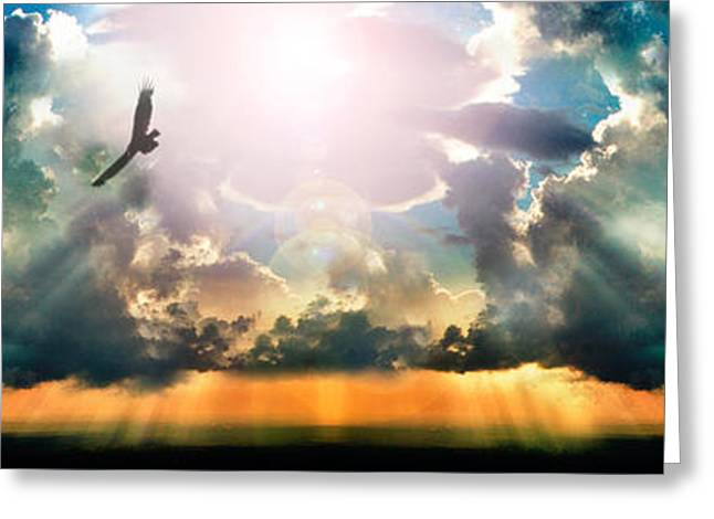 The Sun God Photographs Greeting Cards - Eagle Flying In The Sky With Clouds Greeting Card by Panoramic Images