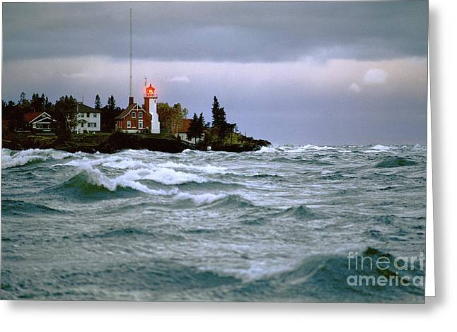Choppy Water Greeting Cards - Eagle Harbor Greeting Card by James L. Amos