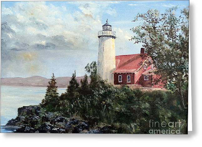Seaside Heights Paintings Greeting Cards - Eagle Harbor Light Greeting Card by Lee Piper