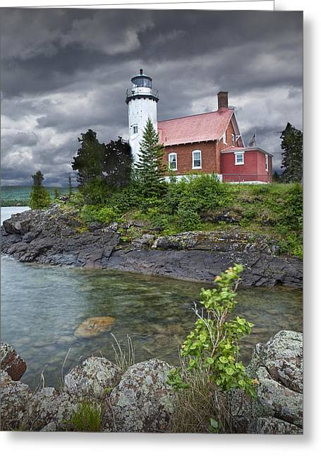 Eagle Harbor Lighthouse In Michigan No. 4572 Greeting Card by Randall Nyhof