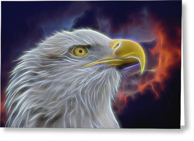 Eagle In Clouds Greeting Cards - Eagle Head In Clouds Digital Art Greeting Card by Ernie Echols