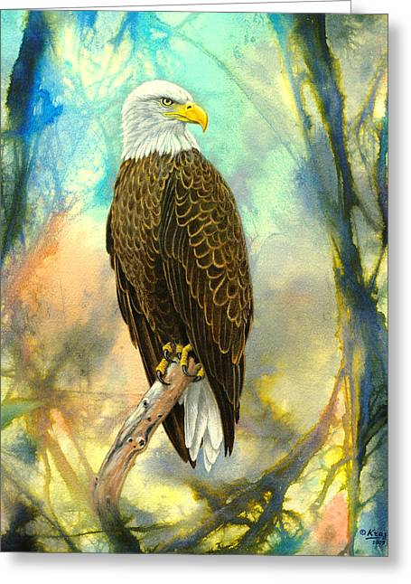 Eagle Paintings Greeting Cards - Eagle in Abstract Greeting Card by Paul Krapf