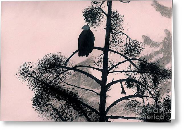 Bird On Tree Drawings Greeting Cards - Eagle in Pink Sky Greeting Card by D Hackett