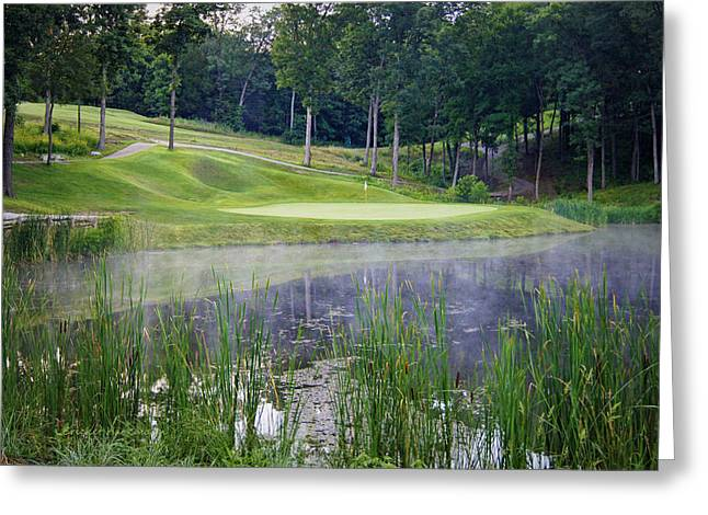 Hartsburg Greeting Cards - Eagle Knoll - Hole Fourteen - Mist on the Lake Greeting Card by Cricket Hackmann