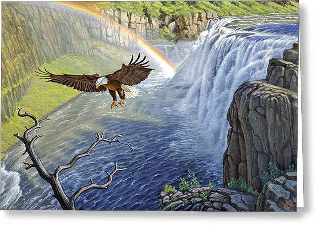 Bald Eagles Greeting Cards - Eagle-Mesa Falls Greeting Card by Paul Krapf