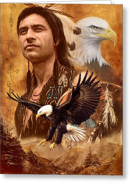 Native American Spirit Portrait Greeting Cards - Eagle Montage Greeting Card by Garry Walton