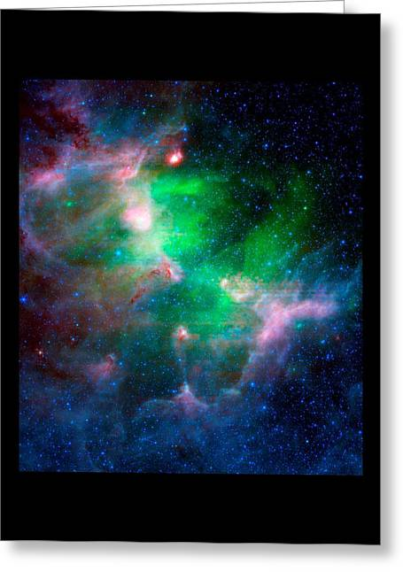 Hubble Space Telescope Mixed Media Greeting Cards - Eagle Nebula Infrared View Large Black Border Greeting Card by L Brown